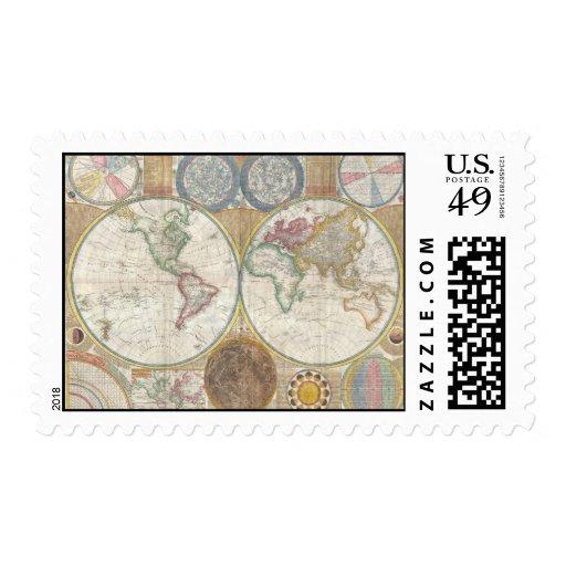 Mapa del mundo del vintage timbres postales