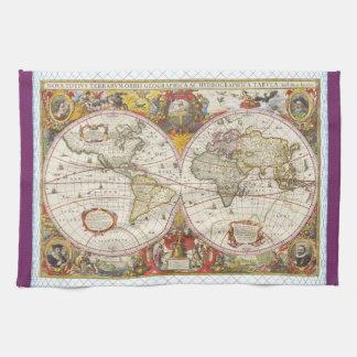 Mapa del mundo del vintage toallas de cocina
