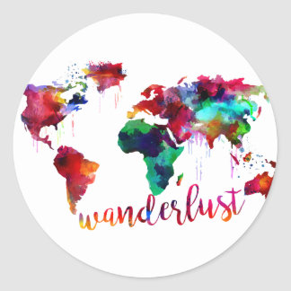 Mapa del mundo del Wanderlust de la acuarela Pegatina Redonda
