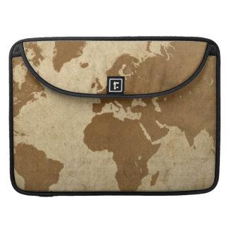 Mapa del mundo descolorado del pergamino funda macbook pro