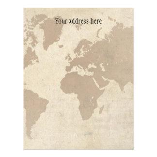 Mapa del mundo descolorado del pergamino plantillas de membrete