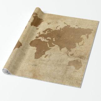 Mapa del mundo descolorado del pergamino papel de regalo