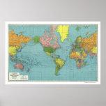 Mapa del mundo detallado 1942 de WWII Impresiones
