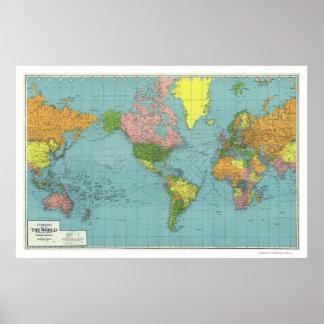 Mapa del mundo detallado 1942 de WWII Póster