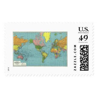 Mapa del mundo detallado 1942 de WWII Sellos