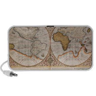 Mapa del mundo doble del hemisferio, 1587 altavoz de viaje