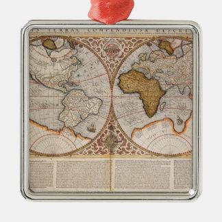 Mapa del mundo doble del hemisferio, 1587 adorno cuadrado plateado