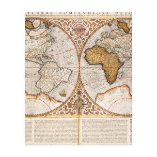 Mapa del mundo doble del hemisferio, 1587 impresión en lona