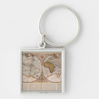 Mapa del mundo doble del hemisferio, 1587 llavero cuadrado plateado