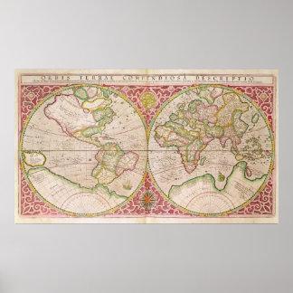 Mapa del mundo doble del hemisferio, 1587 impresiones