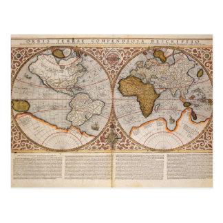 Mapa del mundo doble del hemisferio, 1587 postal