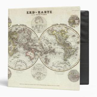 """Mapa del mundo doble del hemisferio carpeta 1 1/2"""""""