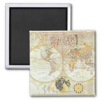 Mapa del mundo doble del hemisferio imán cuadrado