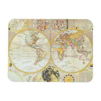 Mapa del mundo doble del hemisferio iman flexible