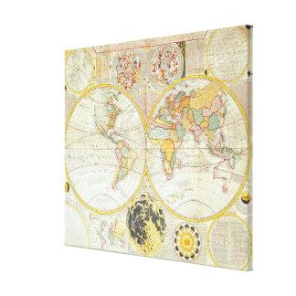 Mapa del mundo doble del hemisferio impresión en lona estirada