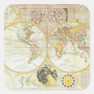 Mapa del mundo doble del hemisferio pegatina cuadrada