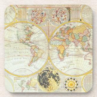 Mapa del mundo doble del hemisferio posavasos de bebida