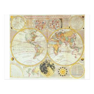 Mapa del mundo doble del hemisferio postal