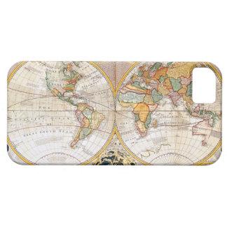 Mapa del mundo dual antiguo del hemisferio iPhone 5 carcasa