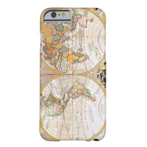 Mapa del mundo dual antiguo del hemisferio funda de iPhone 6 slim