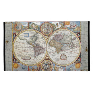Mapa del mundo dual del siglo XVII del hemisferio