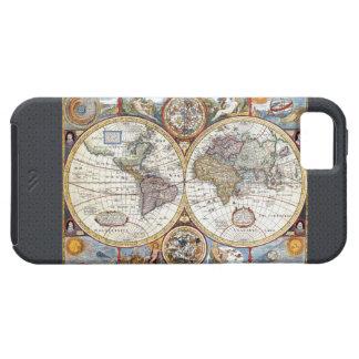 Mapa del mundo dual del siglo XVII del hemisferio iPhone 5 Carcasa
