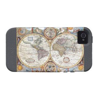 Mapa del mundo dual del siglo XVII del hemisferio iPhone 4 Carcasas