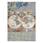 Mapa del mundo dual del siglo XVII del hemisferio Tarjeta