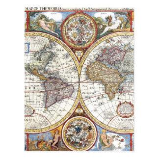 Mapa del mundo dual del siglo XVII del hemisferio Tarjeta Postal