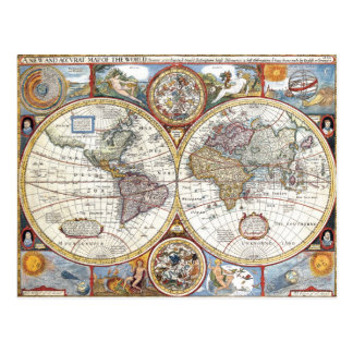 Mapa del mundo dual del siglo XVII del hemisferio Tarjetas Postales
