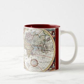 Mapa del mundo dual del siglo XVII del hemisferio Tazas