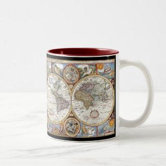 Mapa del mundo dual del siglo XVII del hemisferio Taza Dos Tonos