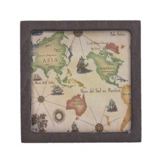 Mapa del mundo el Pacífico Cajas De Recuerdo De Calidad
