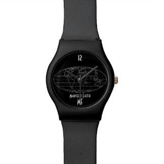 mapa del mundo elegante negro relojes de pulsera