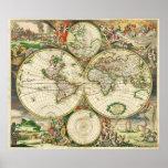 Mapa del mundo en 1689 por Gerard van Schagen Poster