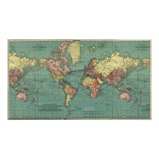 Mapa del mundo en 1919-1921 póster
