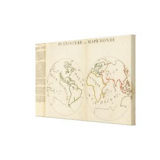 Mapa del mundo en 4 porciones lienzo envuelto para galerias