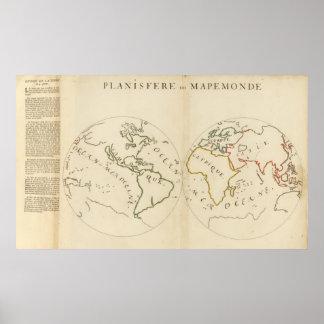 Mapa del mundo en 4 porciones poster