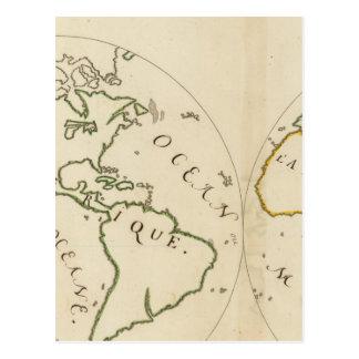 Mapa del mundo en 4 porciones tarjetas postales