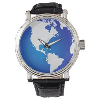 Mapa del mundo en el dial del reloj