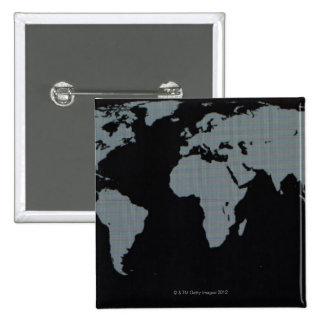 Mapa del mundo en el monitor de computadora pin cuadrado