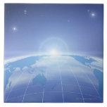 Mapa del mundo en espacio azulejo cuadrado grande