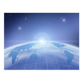 Mapa del mundo en espacio tarjeta postal