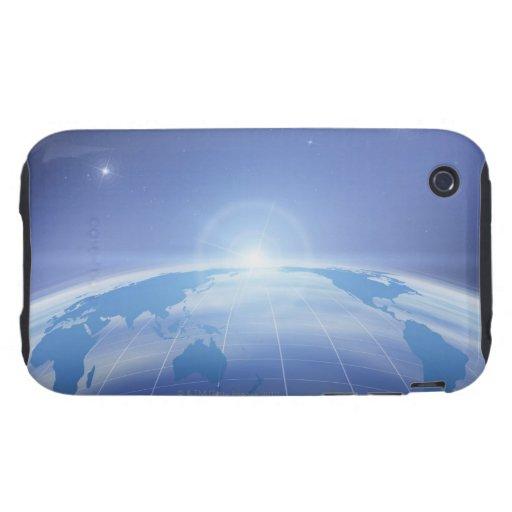 Mapa del mundo en espacio tough iPhone 3 carcasas