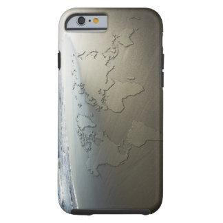 Mapa del mundo en la arena funda de iPhone 6 tough