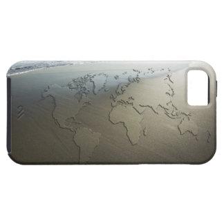 Mapa del mundo en la arena iPhone 5 fundas