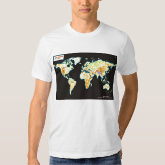Mapa del mundo en la camiseta playera
