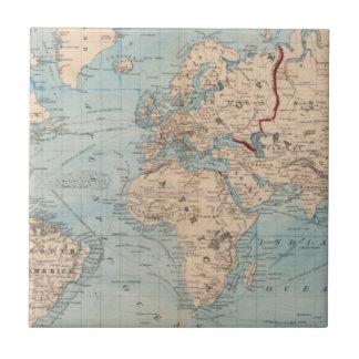Mapa del mundo en la proyección de Mercator Teja Cerámica