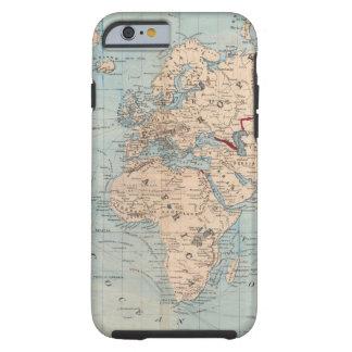 Mapa del mundo en la proyección de Mercator Funda Para iPhone 6 Tough