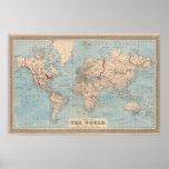 Mapa del mundo en la proyección de Mercator Impresiones